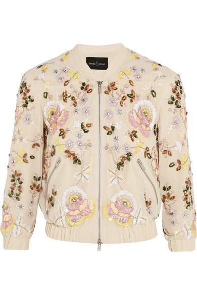 Needle & Thread Embellished georgette bomber jacket