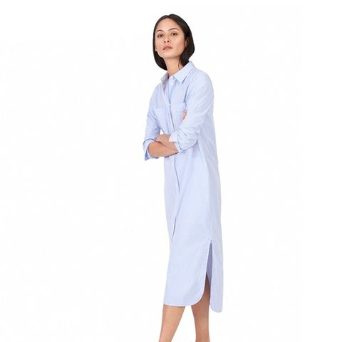 The Striped Cotton Poplin Shirt Dress