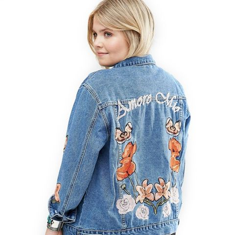Denim Jacket With Butterfly Floral Embroidery