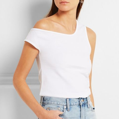 La Marcel Qui Tombe Off-The-Shoulder Cotton-Pique Tank