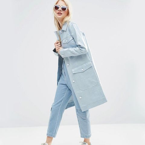 Coated Denim Rain Trench
