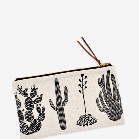 Cactus Print Linen Pouch