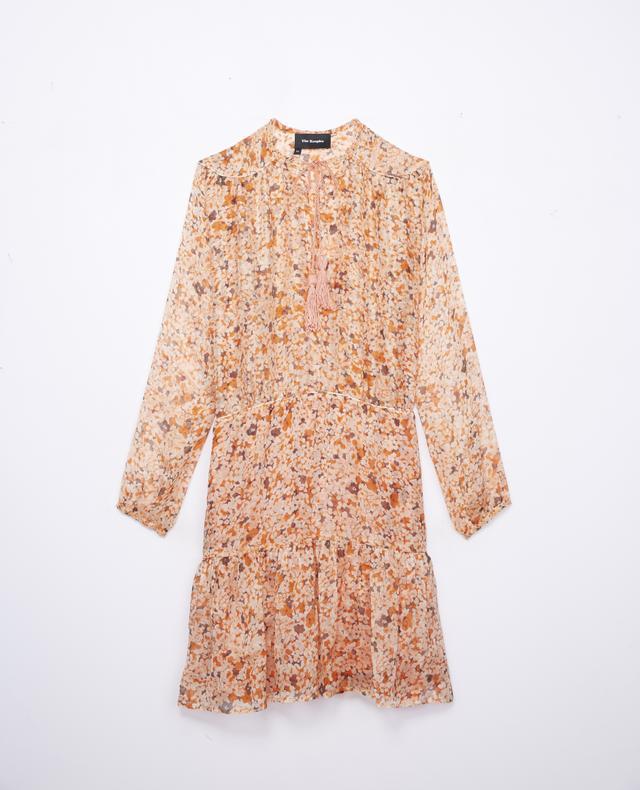 The Kooples Ruffled Silk Dress With Mimosa Print