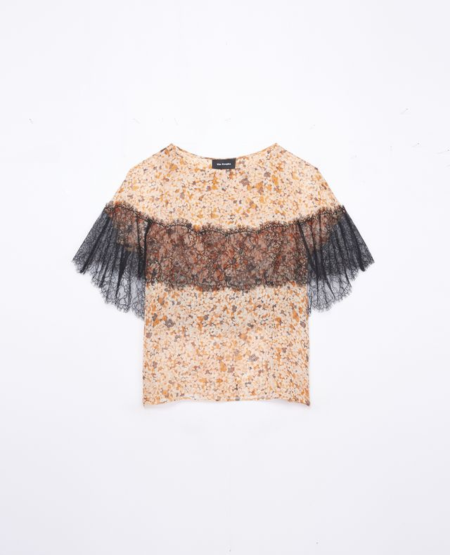 The Kooples Silk Top With Mimosa Print and Lace Detail