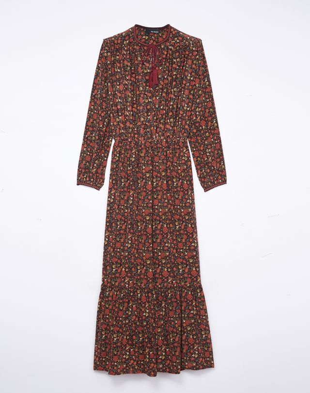 The Kooples Long Silk Dress With Hippy Flowers Print