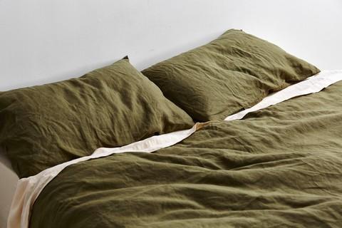 IN BED 100% Linen Duvet Set in Moss