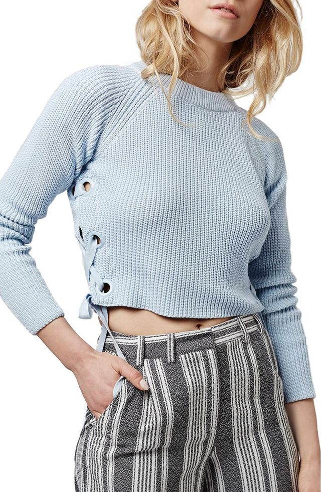 Topshop Lace-Up Crop Sweater