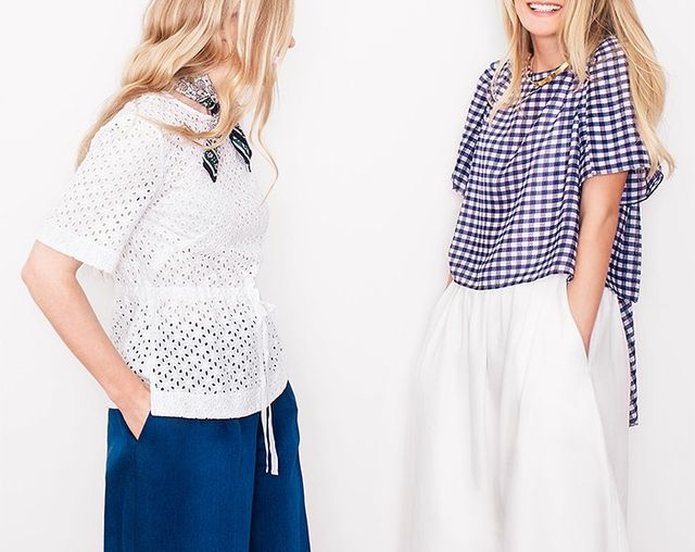 On Kate Foley (left):Club MonacoSandinh Eyelet Top(£434),Bolari Silk Scarf(£65) andFrenchie High-Waisted Pants(£197). On Lucy Foley...