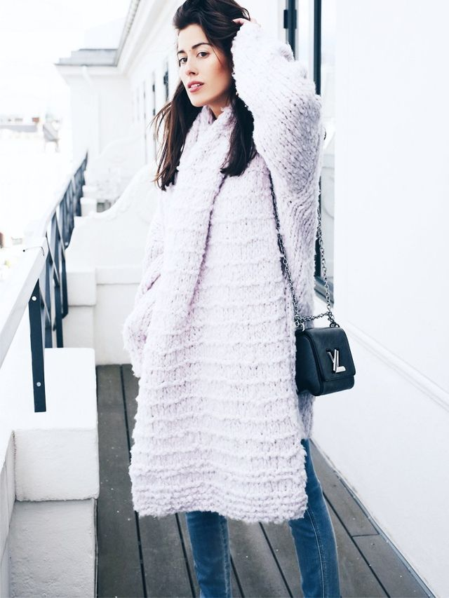 On Sylvia Haghjoo: Closed jeans; Louis Vuitton Twist Bag(£2170). Style Notes: An exaggerated knit top (in lavender to give a nod to the spring season, of course) is the only addition...