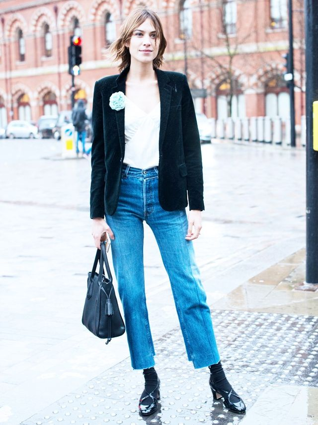 On Alexa Chung: Longchamp bag; Vetementsjeans. Style Notes: Textures are important in the formation of a slick outfit. Go for velvet, silk and denim to contrast the Alexa way.