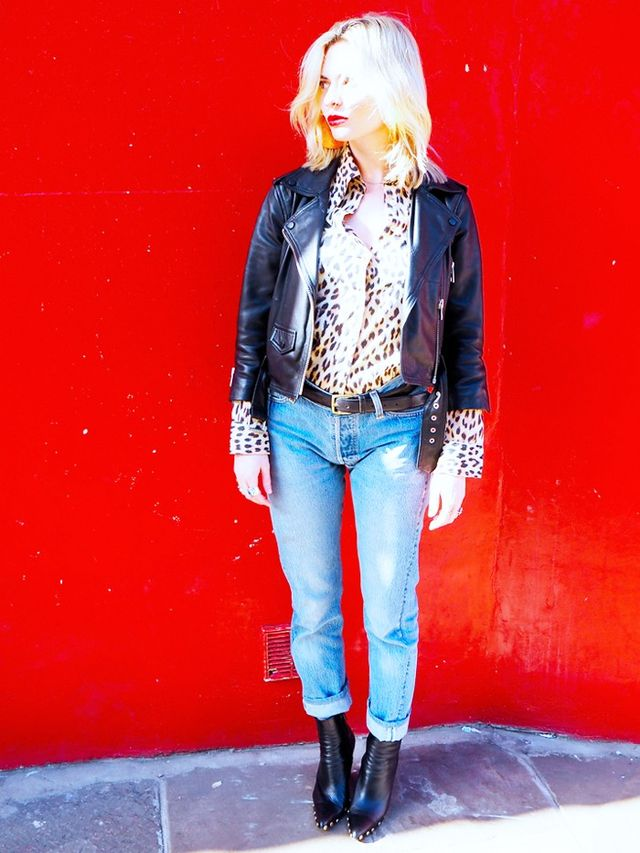 On Pandora Sykes: AllSaints jacket; vintage shirt; Levi's jeans;Célineboots. Style Notes: Channel Patricia Arquette in True Romance,and dig out your old favourite leather...