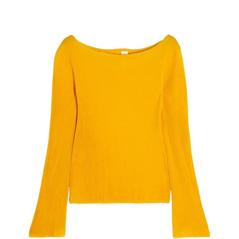 Off-the-Shoulder Plisse Cotton-Jersey Top