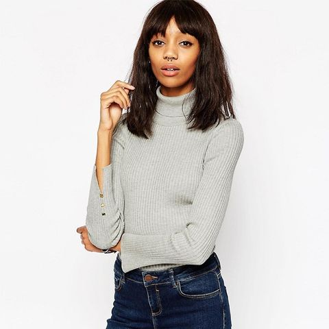 Ribbed Sweater With Roll Neck and Split Cuff Detail