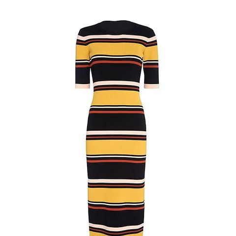 Wyatt Striped Mid-Length Ribbed Knit Dress