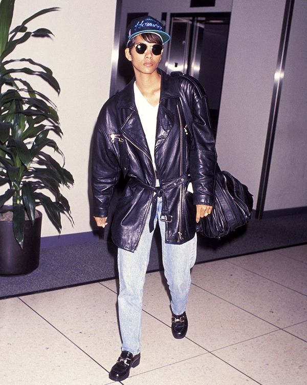 From the baseball cap to the tie-waist leather jacket, everything about Halle Berry's ensemble is gold.
