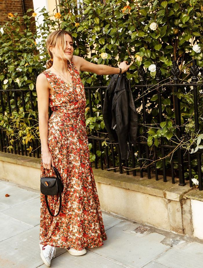 How to wear maxi dresses: Lucy Williams in a floral maxi dress