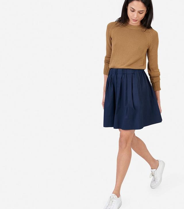 Everlane The Cotton Poplin Pleated Skirt