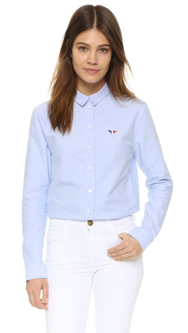 Maison Kitsune Tricolor Patch Oxford Shirt