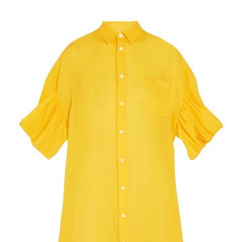Oversized Embroidered Linen Shirt Dress