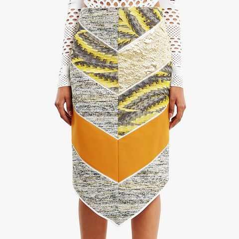 Light Summer Cotton Tweed Midi Skirt