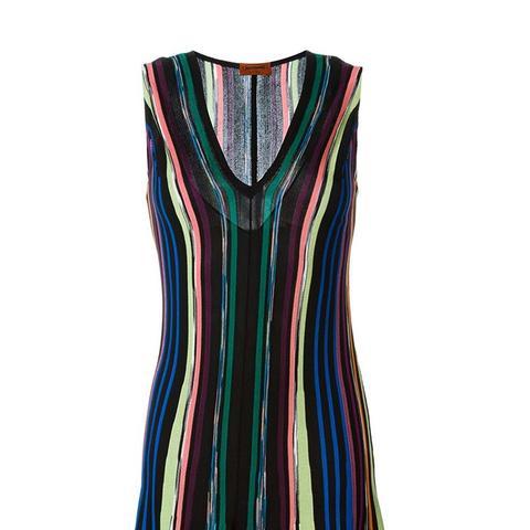 Striped Knit Flared Dress