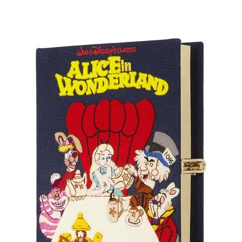 Alice in Wonderland Embroidered Cotton-Canvas Clutch