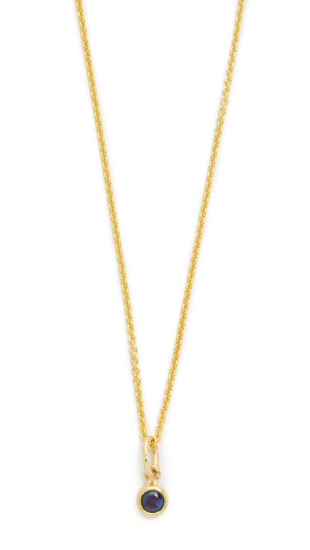 Jennifer Meyer Jewelry Sapphire Single Bezel Necklace