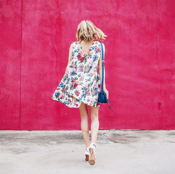 Printed Dress + Chunky Heels