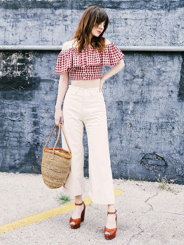 Ruffled Top + Cropped Flares