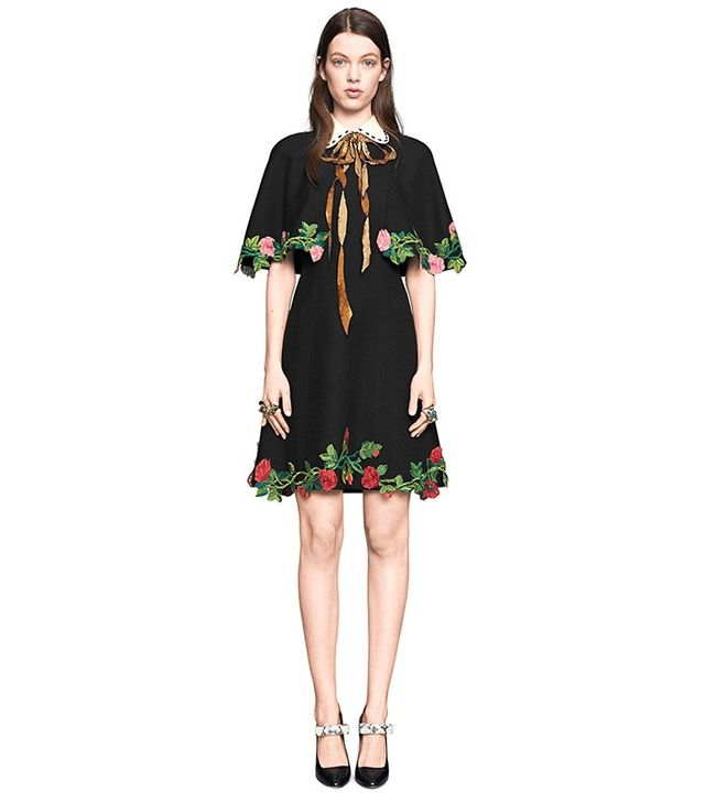 Gucci Embroidered Cape Dress