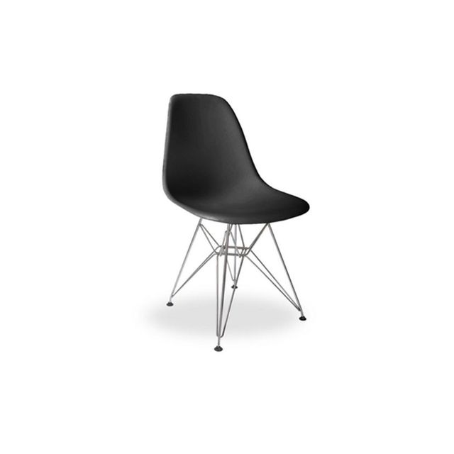 Replica Furniture Replica Charles Eames Dining Chair (Steel Legs) in Black