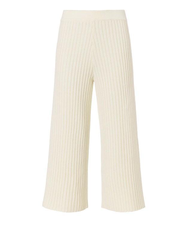 Jonathan Simkhai Ribbed Knit Pant: Ivory