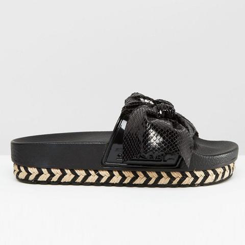 Serla Black Bow Slider Sandals