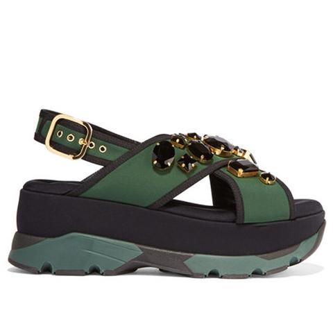 Embellished Neoprene and Leather Platform Sandals