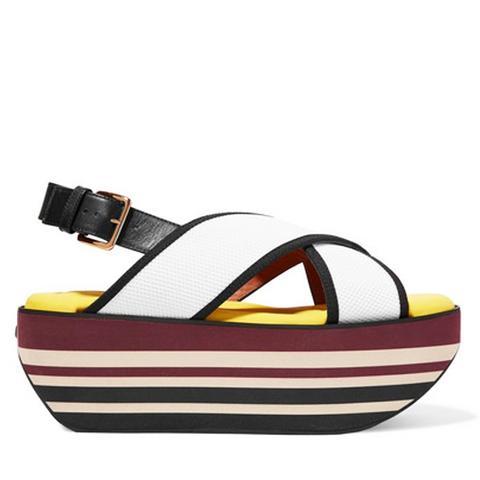 Leather and Mesh Platform Sandals