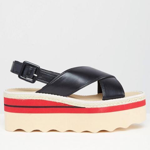 Colourblock Flatform Sandal