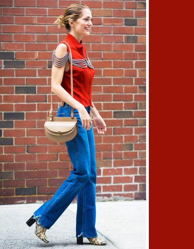 There's no color that looks better with dark denim than red. Its jewel tonemakes any pair of dark wash jeans look more expensive via the vibrant contrast it creates.