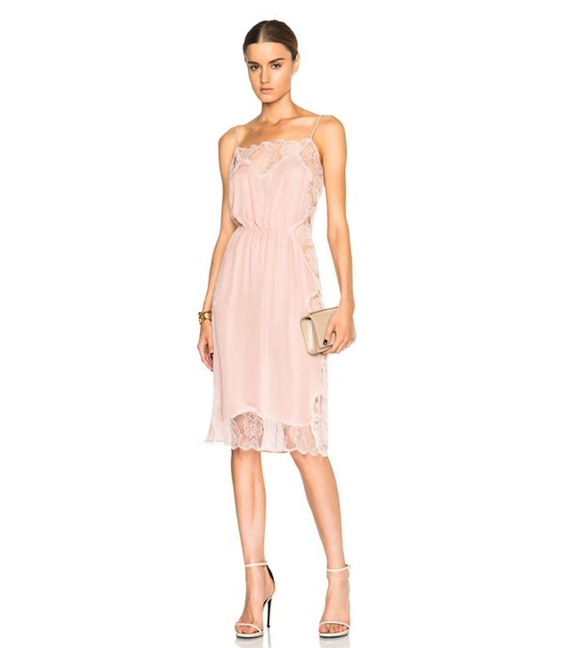 Fleur du Mal Rose Lace Applique Slip Dress