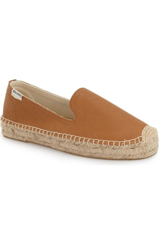 Soludos Smoking Espadrille Platform Shoes in Tan Leather