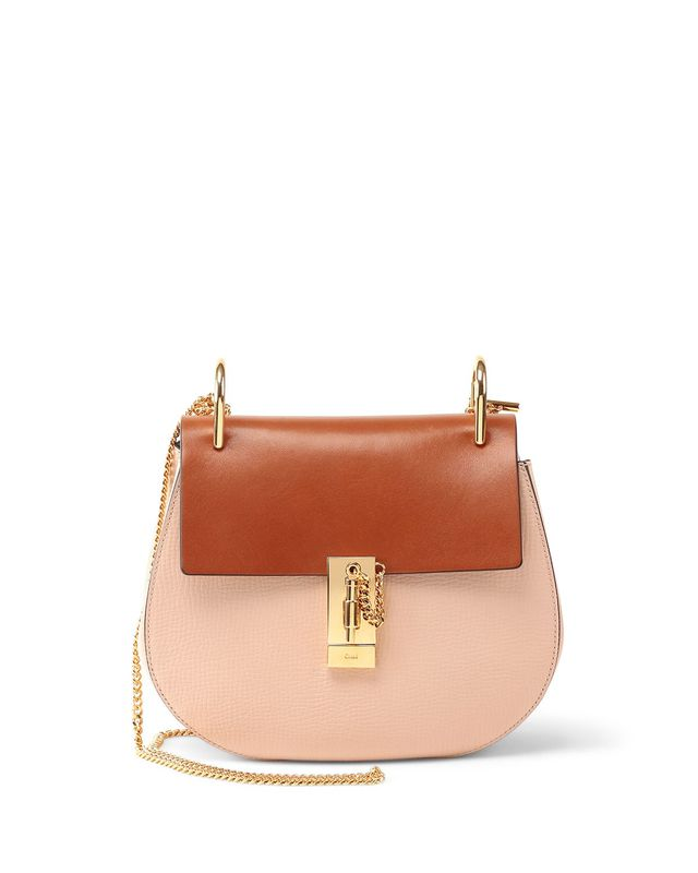 Chloé Drew Mini Colorblock Shoulder Bag in Beige/Caramel