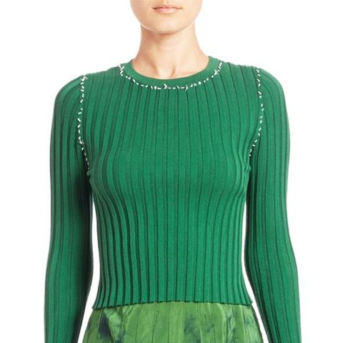 Arrosa Cropped Rib-Knit Sweater