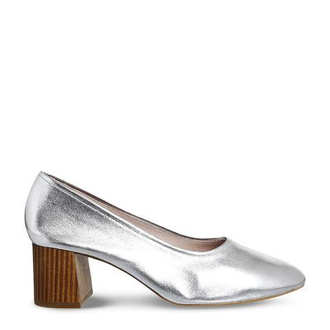 Mia Metallic-Leather Heeled Ballet Shoes