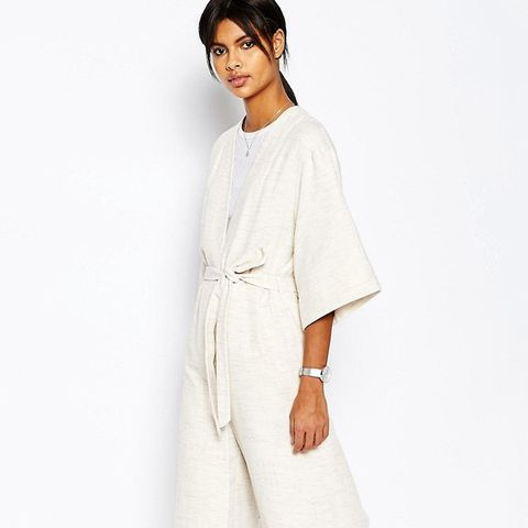Natural Fabric Kimono With Tie Waist Co-ord