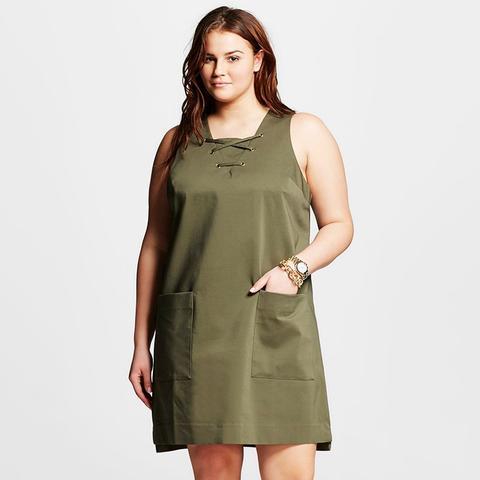 Plus Size Lace-Up Shift Dress