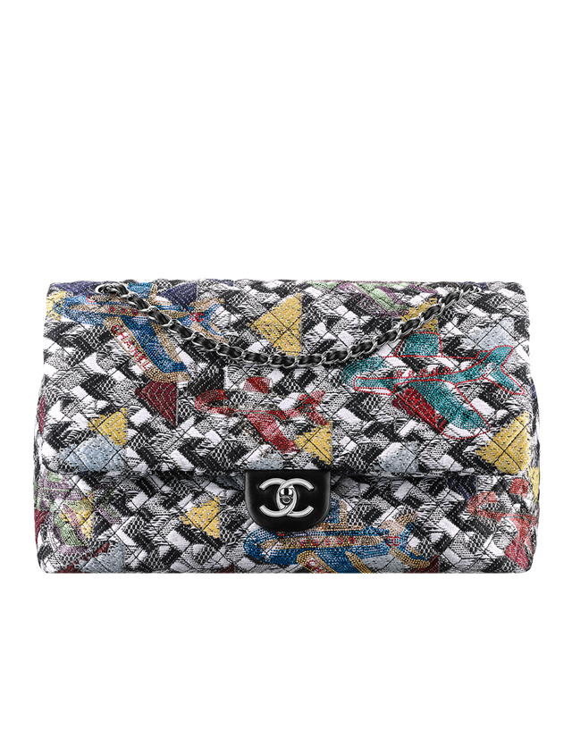 Chanel Large Classic Tweed & Strass Flap Bag
