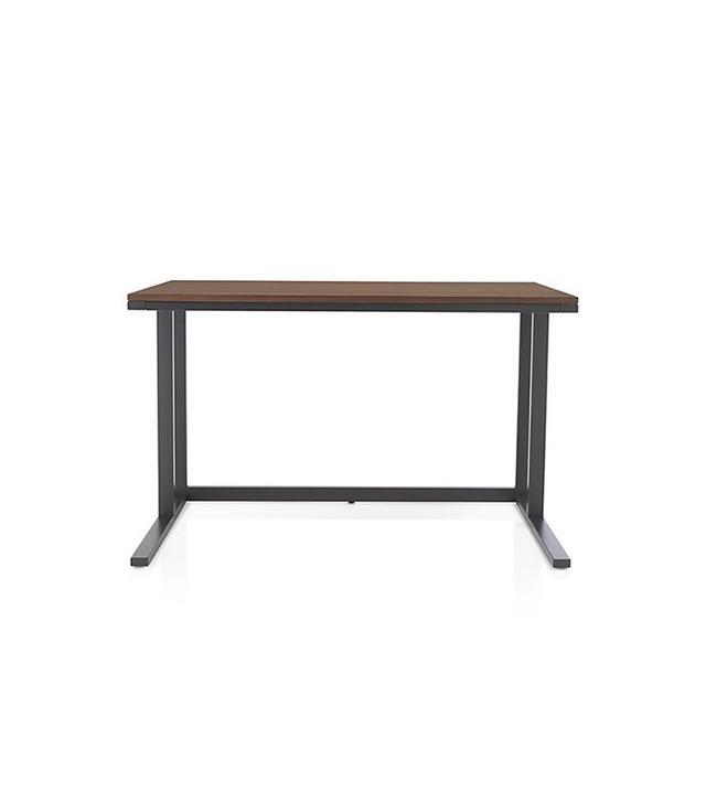 Crate and Barrel Pilsen Graphite Desk with Walnut Top