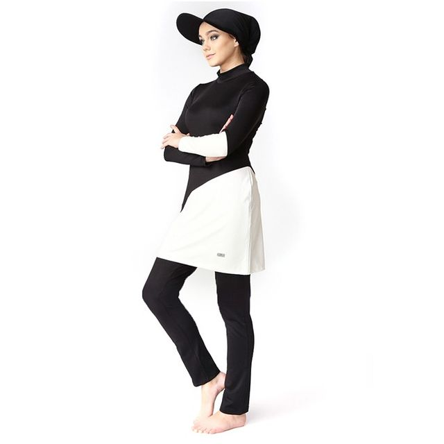 Modanisa Muslim Fashion: Mayovera Black and White Swimsuit