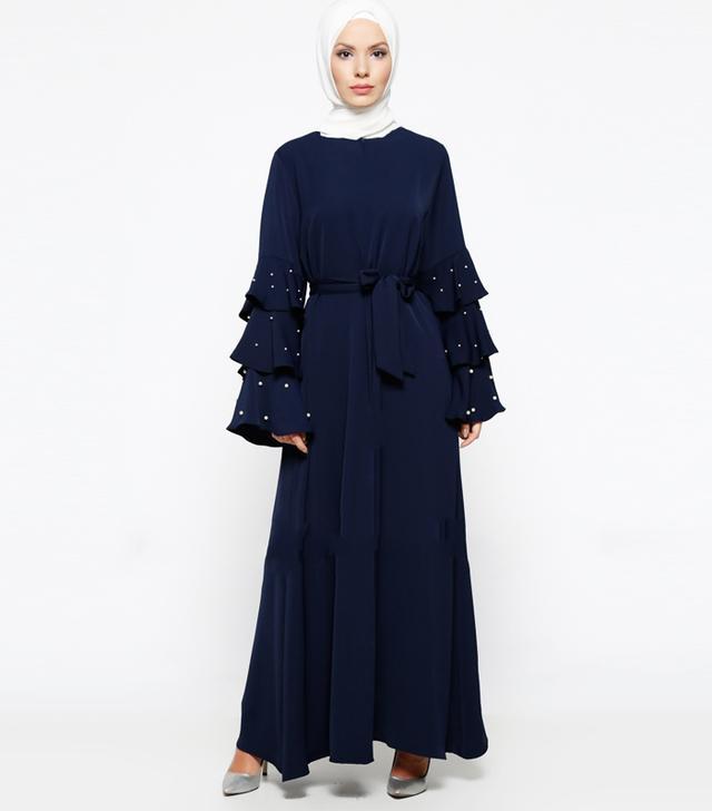 Modanisa Muslim Fashion: Filizzade Navy Blue Unlined Crew Neck Abaya