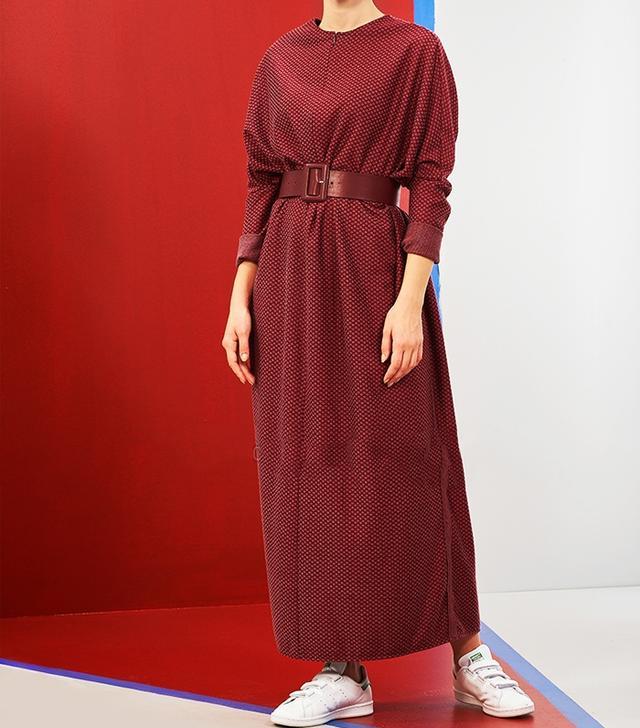 Modanisa Muslim Fashion: Mevra Maroon Unlined Dress