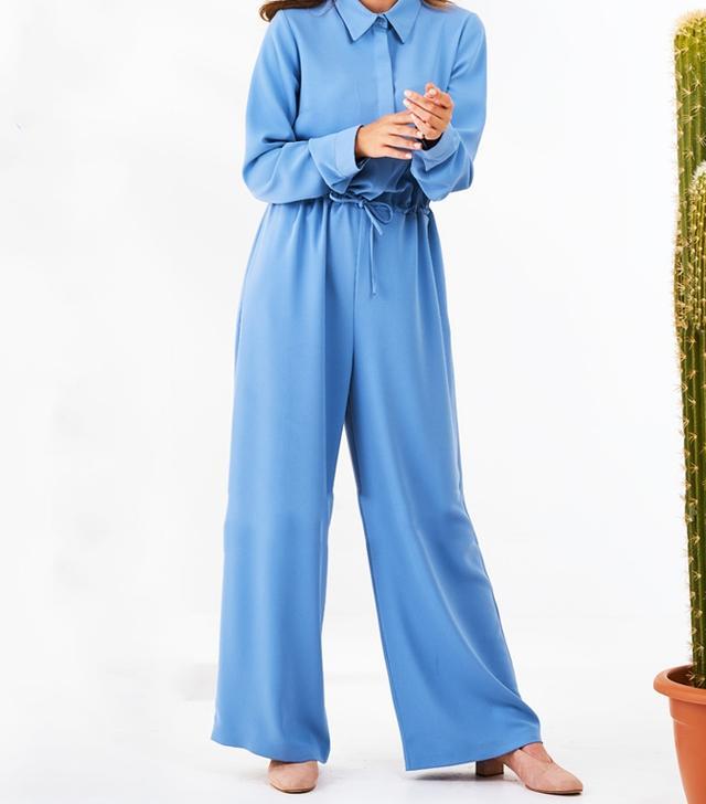 Modanisa Muslim Fashion: Mishela Noor Point Collar Blue Jumpsuit